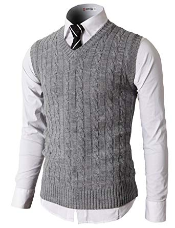 H2H Mens Casual Slim Fit Knitted Pullover Sweater Vests V-Neck Cable