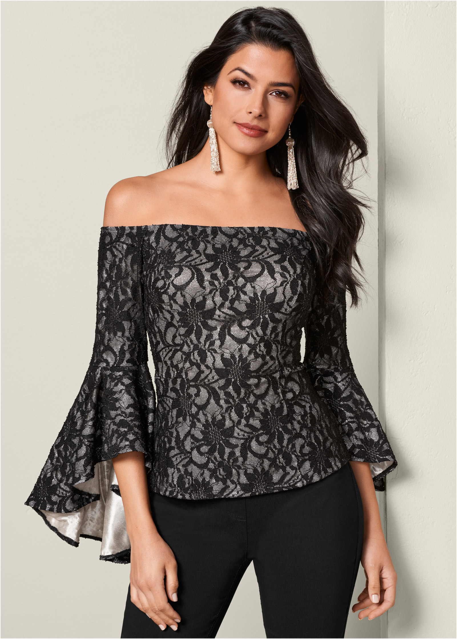 Black Multi TRUMPET SLEEVE LACE TOP from VENUS