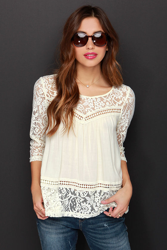 Cute Cream Top - Lace Top - Short Sleeve Top - $36.00