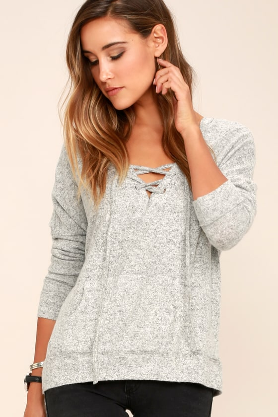 Cozy Heather Grey Hoodie - Lace-Up Hoodie - Hooded Sweater