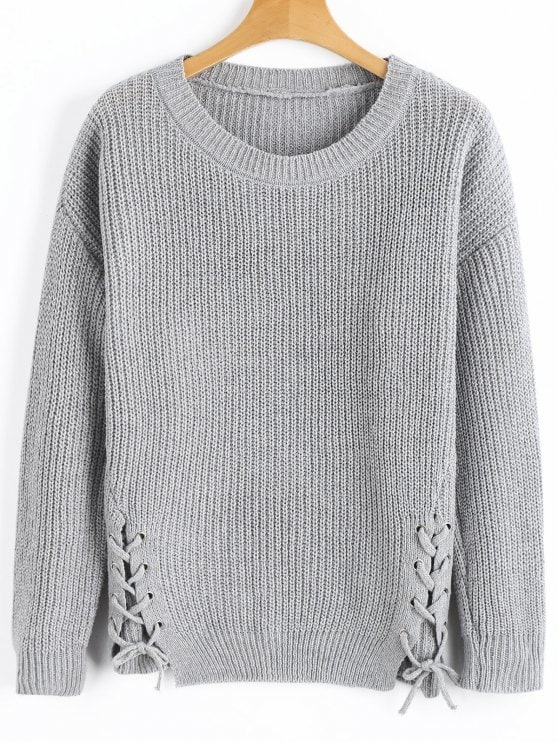 31% OFF] 2019 Side Lace Up Ribbed Texture Sweater In GRAY ONE SIZE