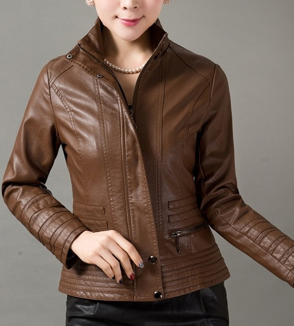 Casual leather jacket women 2018 spring autumn leather clothing