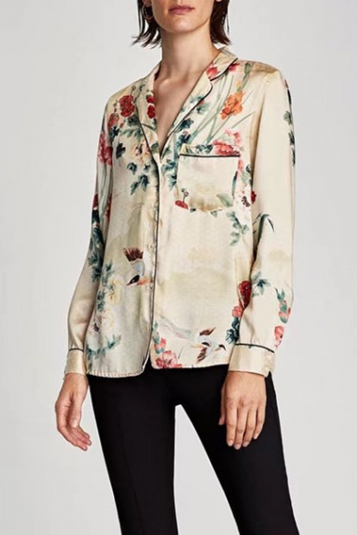 Fashion Floral Print Notched Lapel Collar Long Sleeve Shirt with