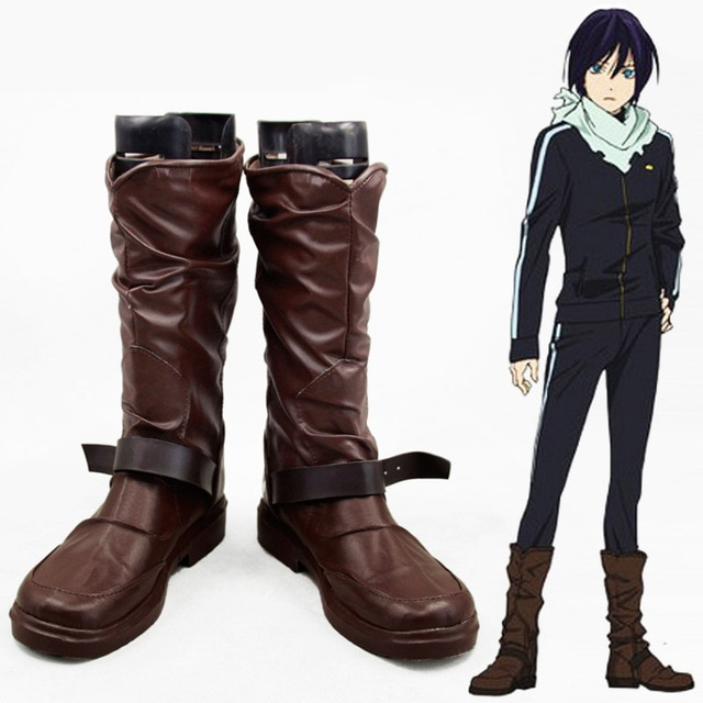 Anime Noragami Yato Cosplay Shoes Men Women Leather Boots Custom