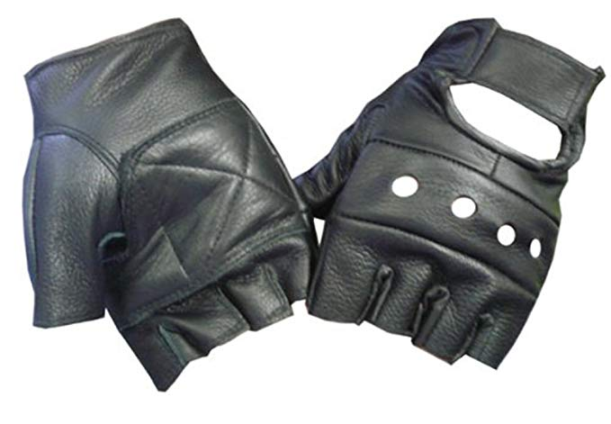 Amazon.com: Motorcyle Biker Fingerless Leather Glove (M): Clothing
