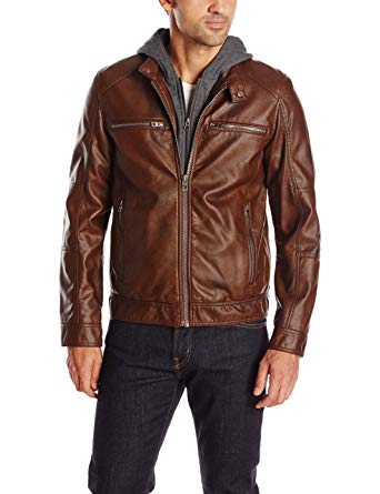 GUESS Men's Faux Leather Hooded Moto Jacket at Amazon Men's Clothing