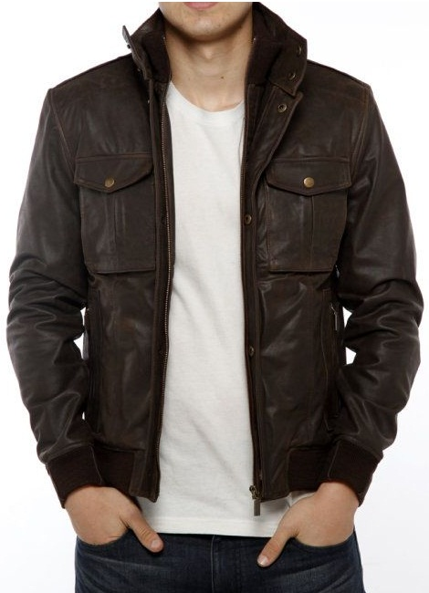 MEN STAND COLLAR LEATHER JACKET, MENS BROWN JACKET, MEN'S LEATHER