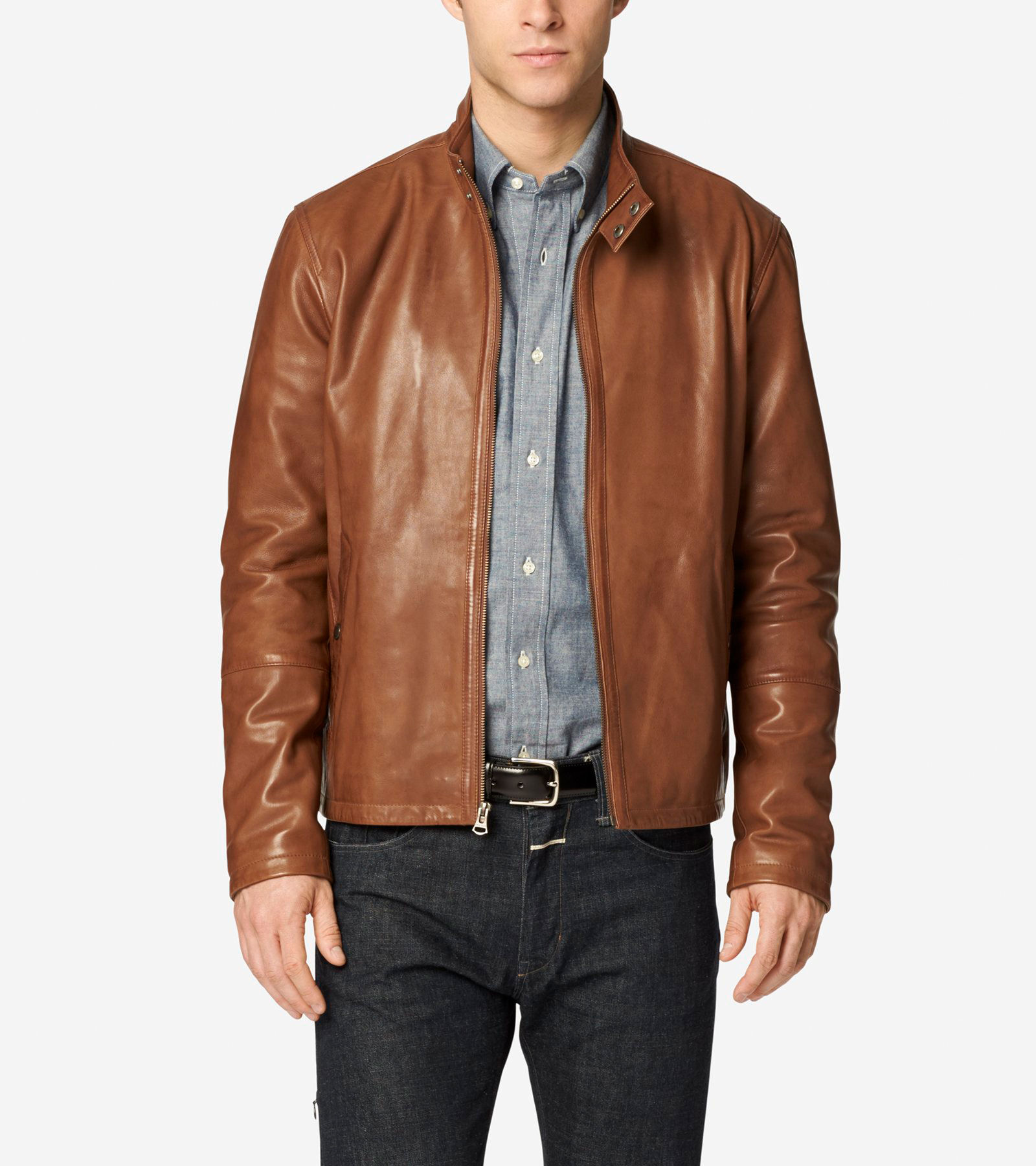 Burnished Lamb Leather Stand Collar Moto Jacket in British Tan