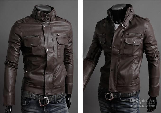 New Arrival Men's Stand Collar Leather Jacket Fashion Leisure