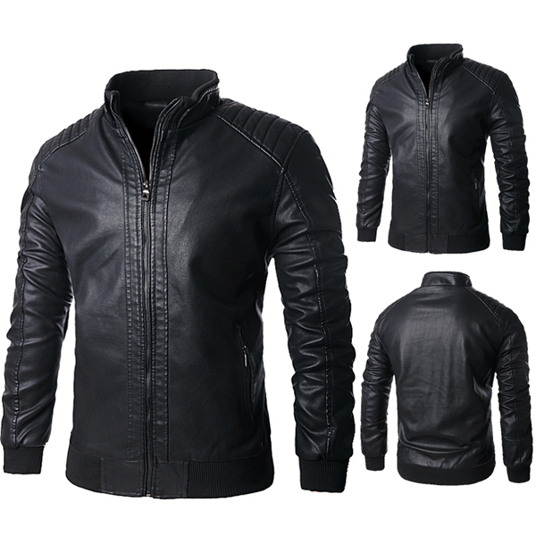 motorcycle pu leather jacket mens black lining stand collar zipper
