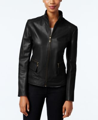 Cole Haan Leather Stand-Collar Jacket & Reviews - Coats - Women - Macy's