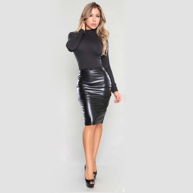 2018 New skirt sexy Package hip leather skirt Europe and the United