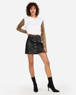 Petite High Waisted (minus The) Leather Zip Mini Skirt | Express