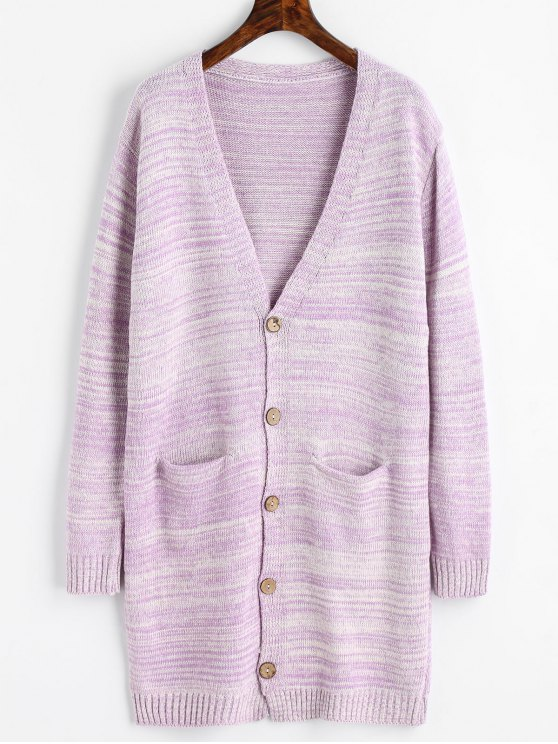 50% OFF] 2019 Plunging Neck Longline Cardigan With Pockets In LIGHT