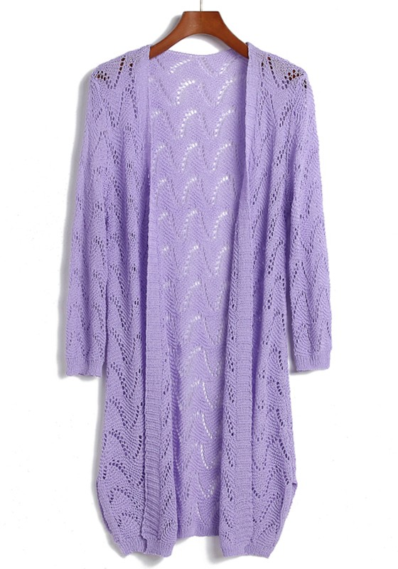 Purple Hollow-out Long Sleeve Loose Acrylic Cardigan - Cardigans