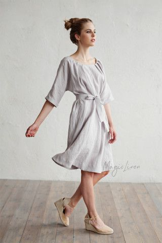 Linen Dress with Belt Corfu | MagicLinen