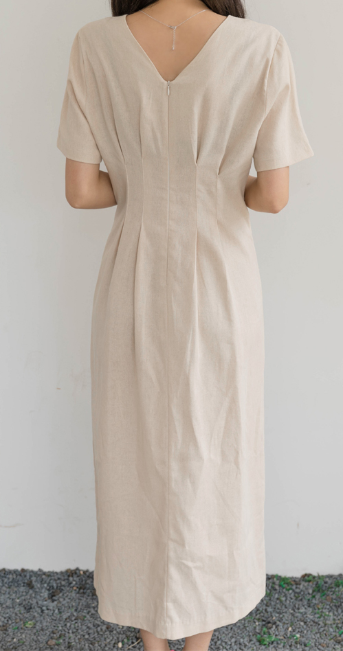 Elegant Linen Long Dresses Womens Clothing Summer V-neck Short Sleeved