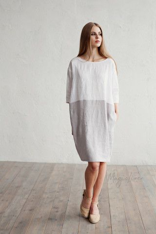 White And Gray Linen Dress Adria | MagicLinen