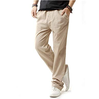Hoerev Men Casual Beach Trousers Linen Jean Jacket Summer Pants at