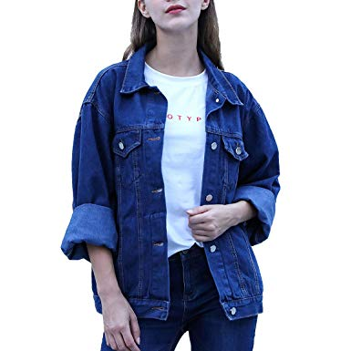 RJUP Oversized Denim Jackets for Women Long Sleeve Boyfriend Jean