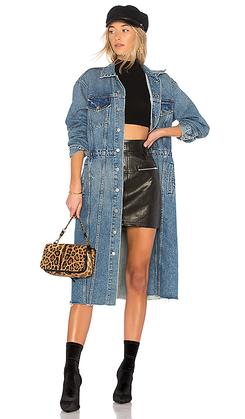 GRLFRND Iman Long Denim Coat in Material Girl | REVOLVE