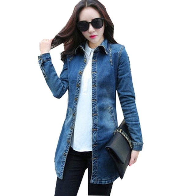 Vintage Women Denim Jacket Nice Woman Casual Washed Jean Jacket Slim