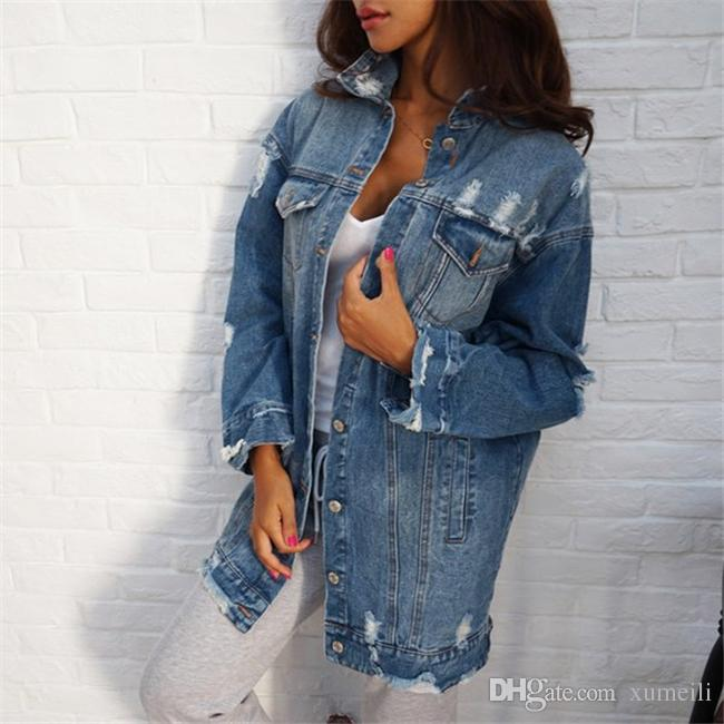 2017 Denim Jackets Women Hole Boyfriend Style Long Sleeve Vintage