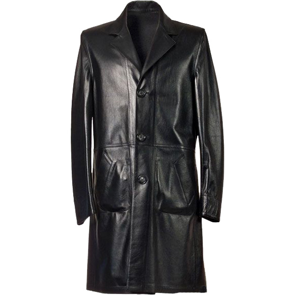 3-Button Long Leather Coat For Men - Leather Jackets USA