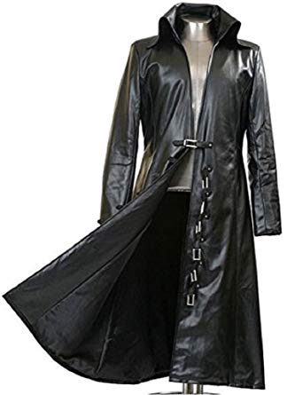 Gothic_Master Black Faux Leather Long Trench Coat at Amazon Men's