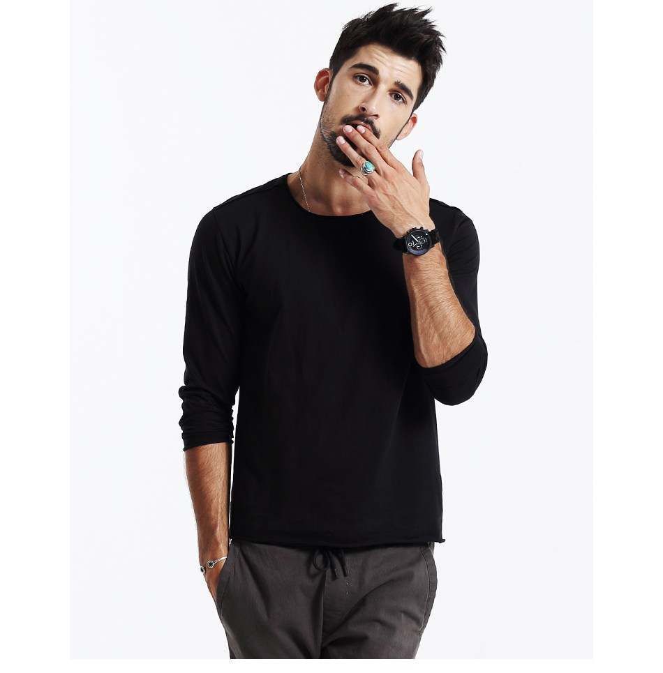 Black Long Sleeve T-Shirt for Men - 100% Cotton Casual Style