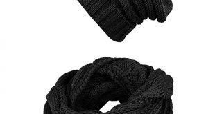 Knit Infinity Scarf Beanie Hat Set Women Winter Circle Loop Scarfs