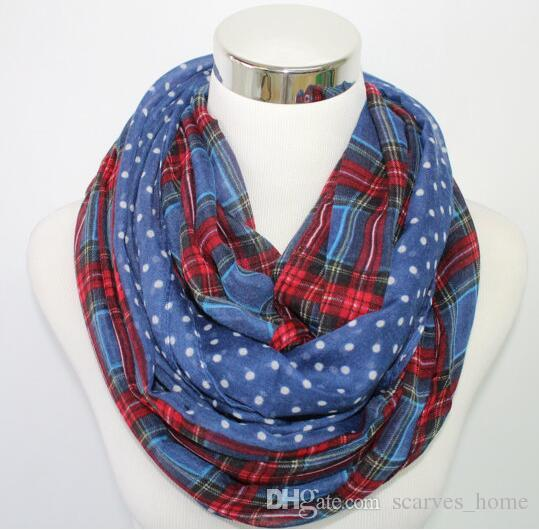 Women/Ladies Dotted And Plaid Check Infinity Shawls Scarf Snood Loop