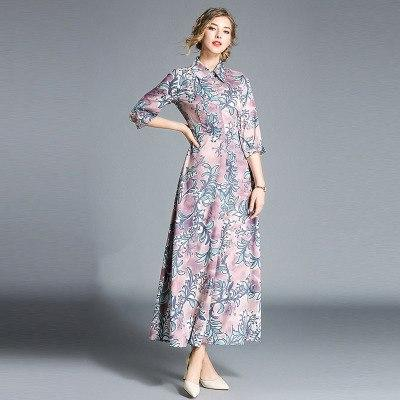 Luxury Runway Long Women Dresses Autumn And Winter Print Fashion