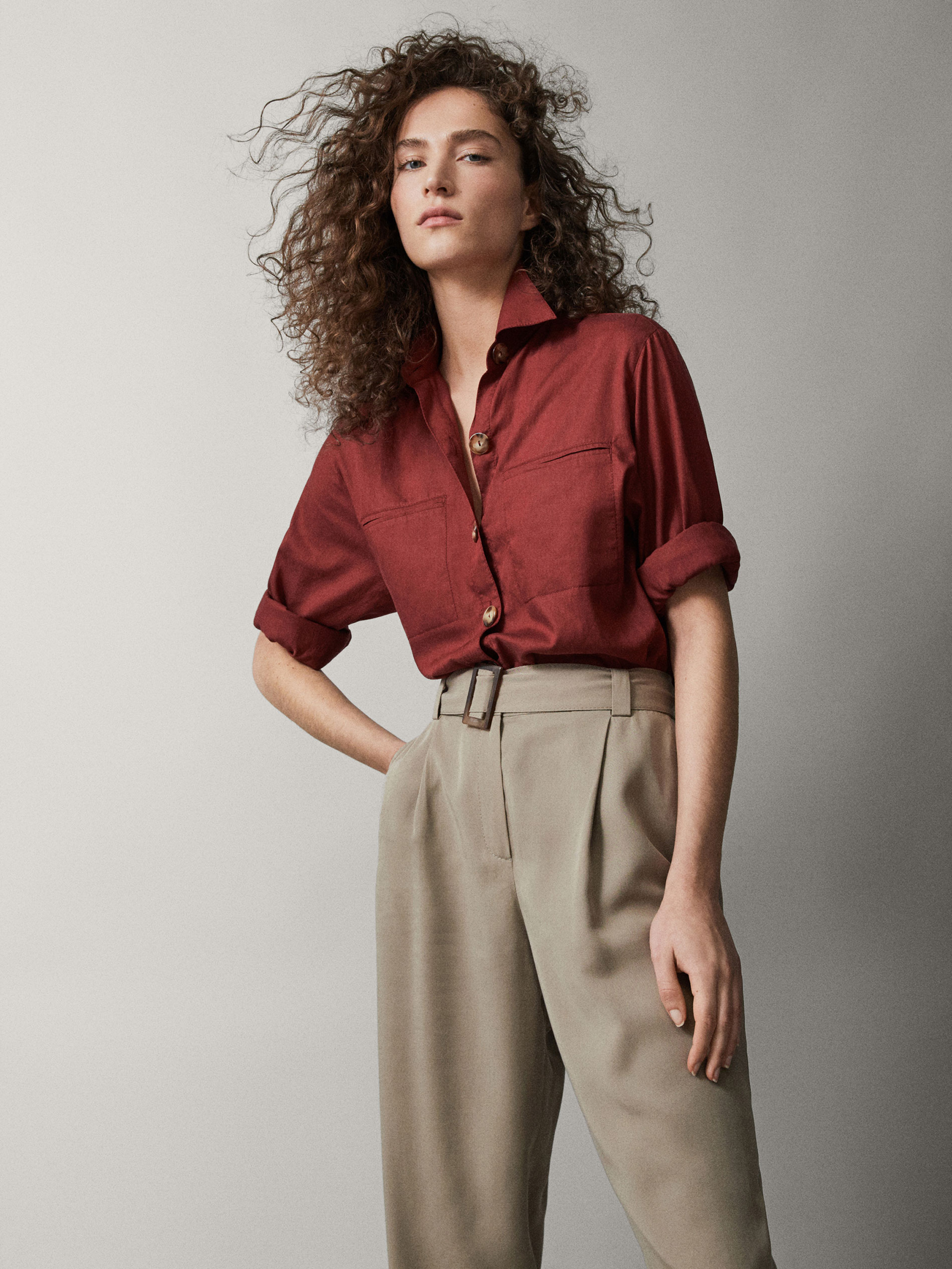COTTON/LYOCELL SHIRT WITH POCKETS - Women - Massimo Dutti