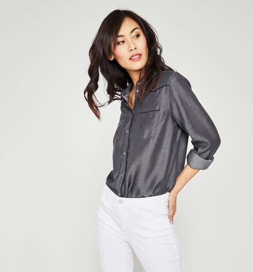 Far West shirt in lyocell - Grey denim - Women - Shirts / Tunics