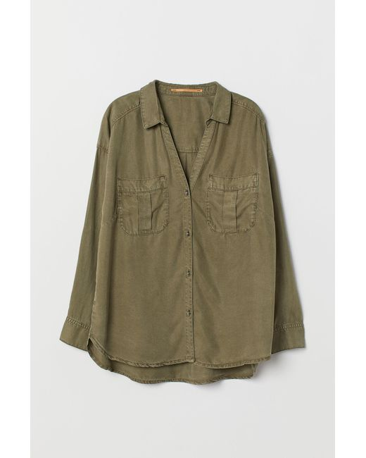 H&M Lyocell Shirt in Green - Save 72.41379310344828% - Lyst