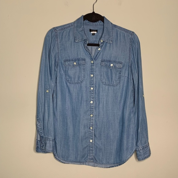 Talbots Tops | L Lyocell Chambray Button Down Shirt | Poshmark