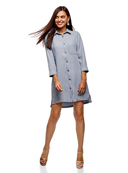 oodji Ultra Women's Lyocell Shirt Dress at Amazon Women's Clothing