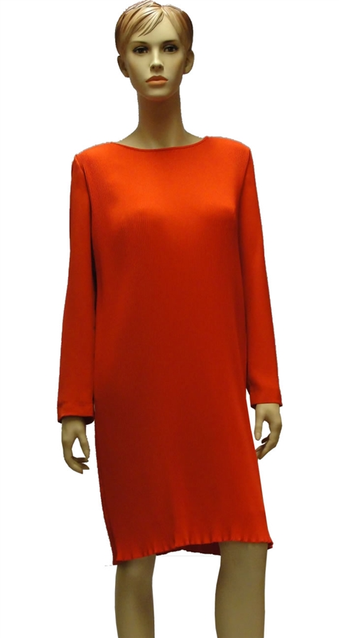 Marc Cain finely pleated, knee length deep coral dress with long
