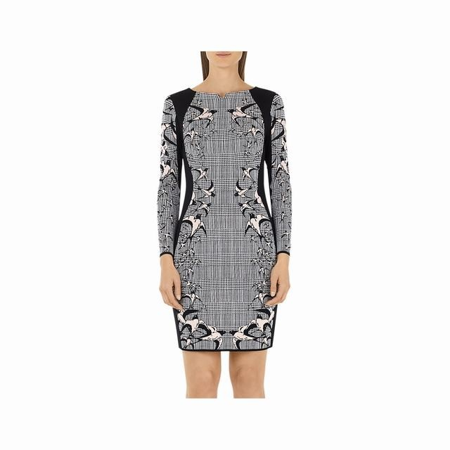 Marc Cain Check & Swallow Jacquard Dress-Black/White Knee Length