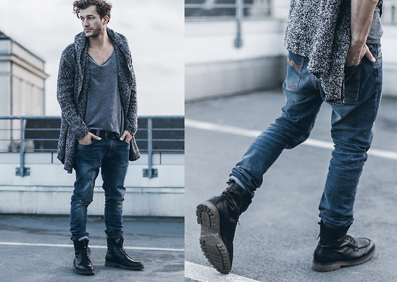 Klemens - Marc O'polo Boots, Nudie Jeans, H&M Cardigan, H&M T Shirt