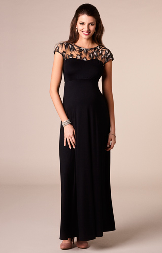 Marie Maternity Gown Long Vintage Noir - Maternity Wedding Dresses