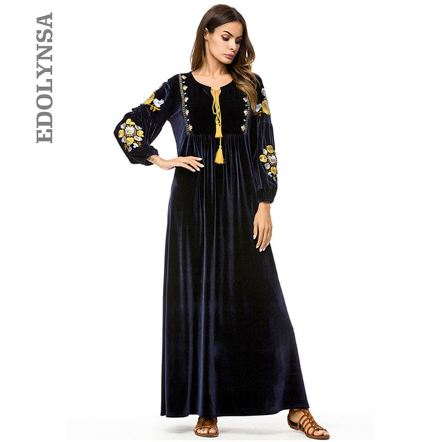 Large Size Women Winter Fashion 2019 New Arrival Velvet Ukraine Maxi