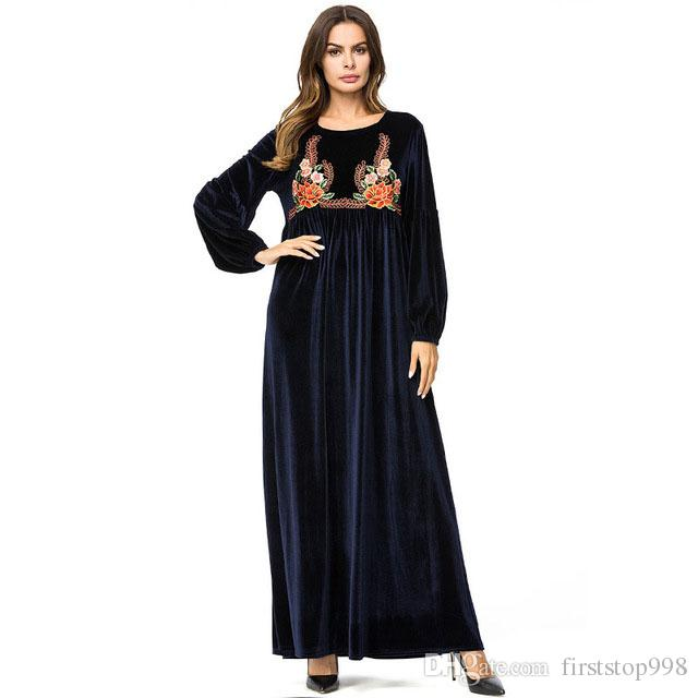 Elegant Velvet Embroidery Long Dress Winter 2019 Long Sleeve Maxi