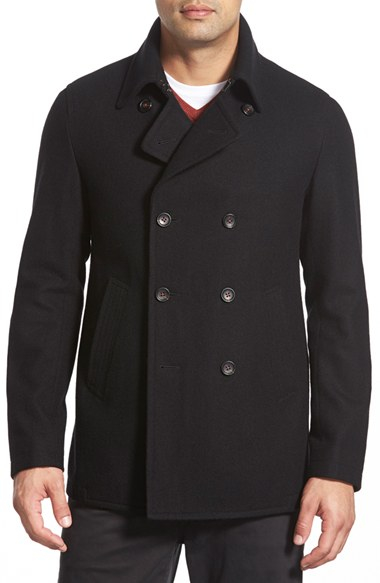 Lyst - Sanyo 'mcneal' Double Breasted Peacoat in Black for Men