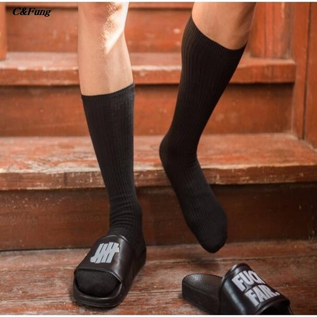 2018 new designer Men knee high Socks white black classic Cotton