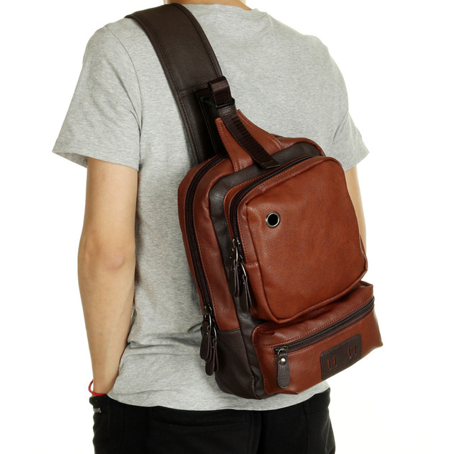 New Fashion Men Messenger Bags Casual Mens Leather Chest Bags Big