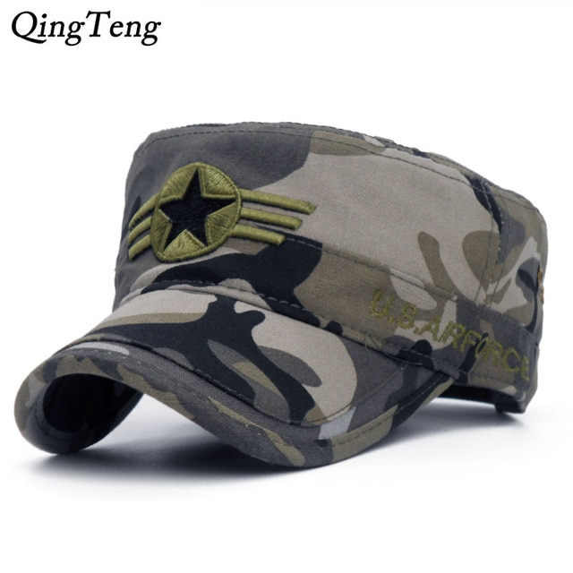 2018 Army camouflage Flat Top Mens Caps Hat Adjustable Star