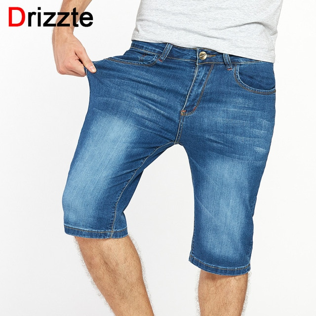 Drizzte Brand Mens Jeans Shorts Plus Size Stretch Thin Denim Jeans