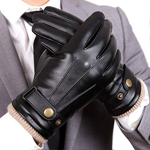 WARMEN Mens Touchscreen Texting Winter PU Faux Leather Gloves